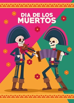 Dia de los muertos celebration card with skeletons mariachis and flowers