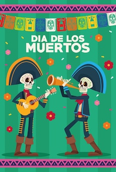 Dia de los muertos celebration card with skeletons mariachis and garlands