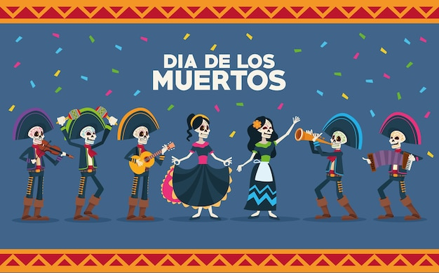 Dia de los muertos celebration card with