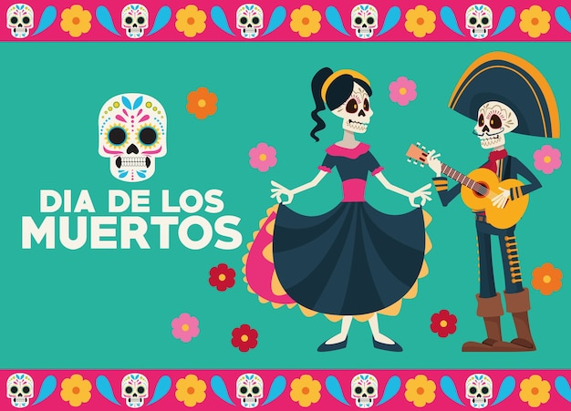 Dia de los muertos celebration greeting card with skeletons couple