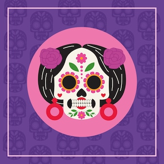 Dia de los muertos celebration poster with catrina head vector illustration design