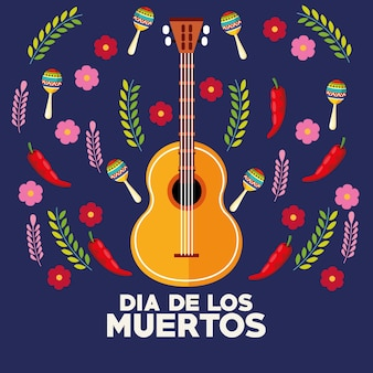 Dia de los muertos celebration poster with guitar and flowers vector illustration design