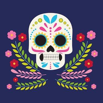 Dia de los muertos celebration poster with skull head and flowers vector illustration design