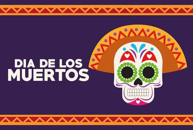 Dia de los muertos celebration poster with skull head and lettering vector illustration design