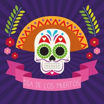Dia de los muertos celebration poster with skull head and ribbon frame vector illustration design