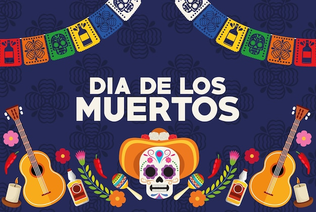 Dia de los muertos celebration poster with skull head wearing hat and guitars vector illustration design