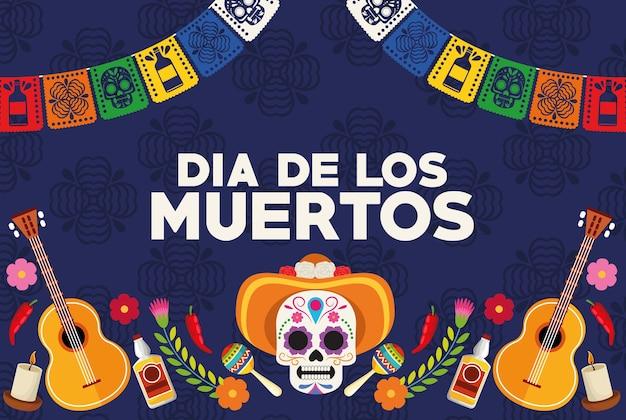 Dia de los muertos celebration poster with skull head wearing hat and guitars vector illustration design