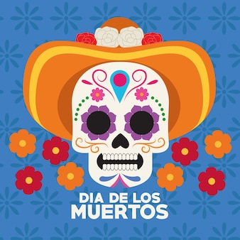 Dia de los muertos celebration poster with skull head wearing hat vector illustration design