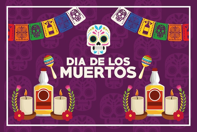 Dia de los muertos celebration poster with skull and tequila bottles vector illustration design