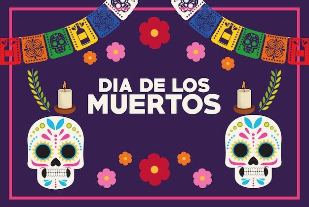 Dia de los muertos celebration poster with skulls couple and garlands vector illustration design