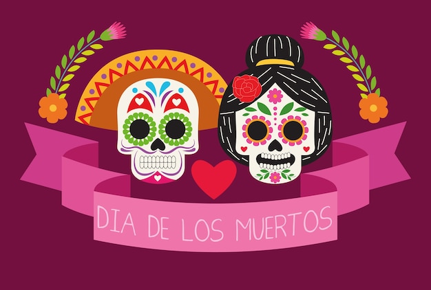 Dia de los muertos celebration poster with skulls couple and ribbon vector illustration design