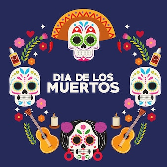 Dia de los muertos celebration poster with skulls heads group and guitars around vector illustration design