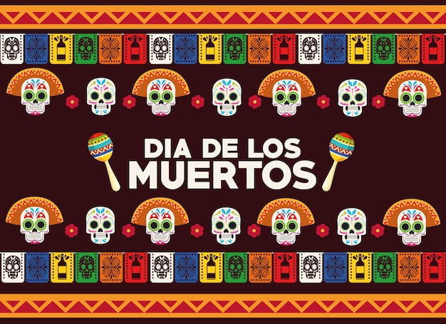 Dia de los muertos celebration poster with skulls heads group and maracas vector illustration design