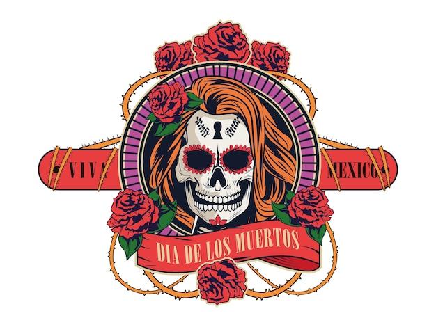 女性の頭蓋骨とバラの花ベクトルイラストデザインとディアデロスムエルトスのお祝い