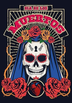 Dia de los muertos celebration with woman skull and heart vector illustration design