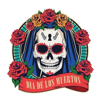 Dia de los muertos celebration with woman skull in red ribbon frame vector illustration design