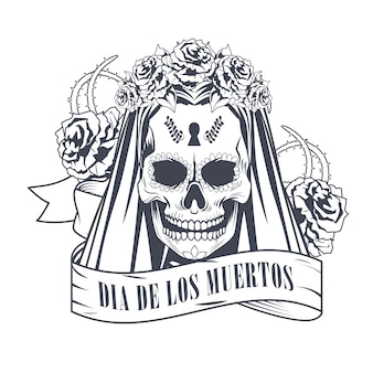 Dia de los muertos celebration with woman skull in ribbon frame drawing vector illustration design