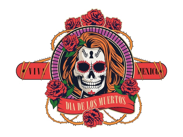 Dia de los muertos celebration with woman skull and roses flowers vector illustration design