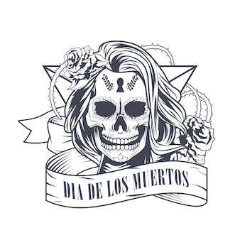 Dia de los muertos celebration with woman skull vector illustration design
