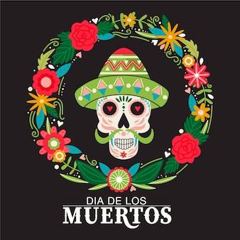 Dia de los muertos or day of the dead composition traditional mexican festival