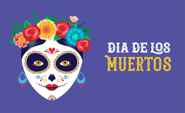 Dia de los muertos day of the dead mexican holiday festival poster banner and card with make up of