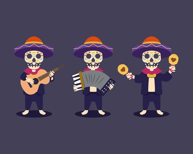 Dia de los muertos, day of the dead mexico skull mascot design illustration