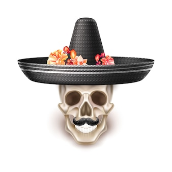 Dia de los muertos day of dead realistic skull with mustache, black hat with flowers