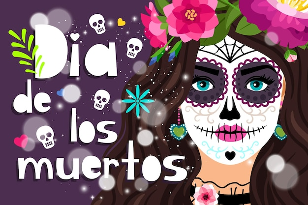 Dia de los muertos. 스페인어에서 죽은 자의 날, 소녀 두개골 일러스트와 함께 전통적인 멕시코 축제 컬러 포스터