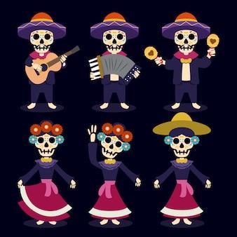 ディアデロスムエルトス、死んだメキシコの頭蓋骨マスコットイラストの日