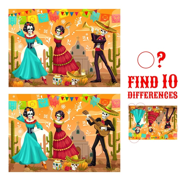 Dia de los muertos find differences vector maze game with dancing skeletons. kids educational matching game or puzzle, worksheet template with day of dead mexican holiday skulls, sombrero, cactuses