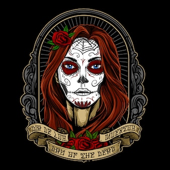 Dia de los muertos girl face painting vector design