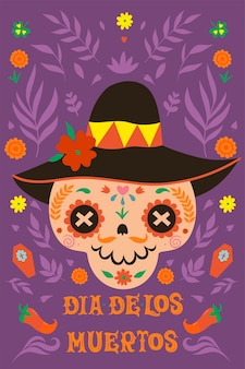 Dia de los muertos greeting banner for day of the dead. vector graphics.