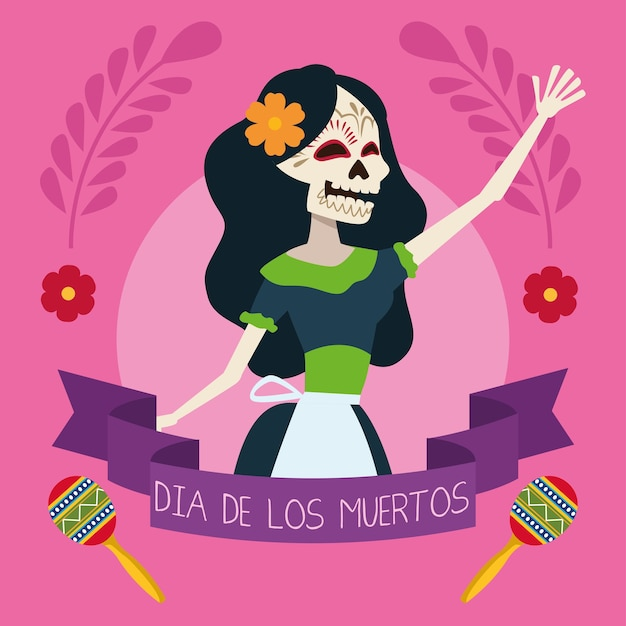 Dia de los muertos greeting card with female skeleton