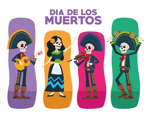 Dia de los muertos greeting card with skeletons group characters
