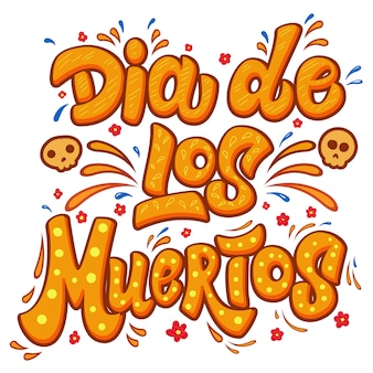 Dia de los muertos. lettering phrase with flourish decor.  element for poster, card, t shirt, emblem, sign.  illustration