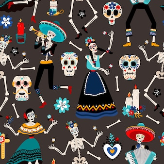 Dia de los muertos, mexican day of the dead pattern with skulls, skeletons and flowers illustration