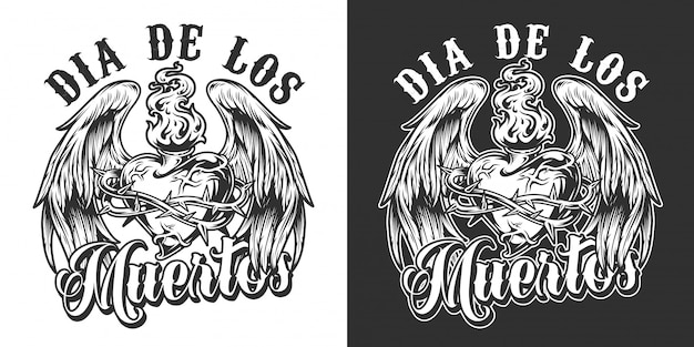 Dia de los muertos monochrome label