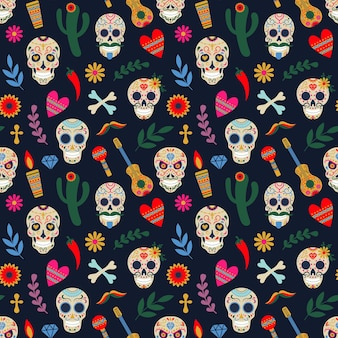 Dia de los muertos pattern. day of the dead mexican floral sugar human head bones vector illustration. dead day holiday seamless pattern. decoration mexican halloween with floral skull and guitar