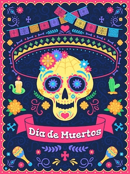 Dia de los muertos poster. dead day holiday, skull with flowers, ribbons and text, traditional mexican latin festival, vector background. colorful flags, candle and cactus, holiday celebration