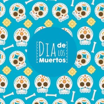 Dia de los muertos poster with head skulls pattern