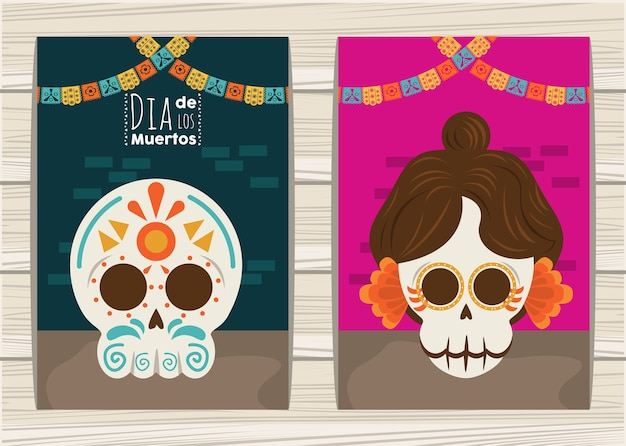Dia de los muertos poster with katrina and head skulls and garlands