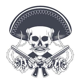 Плакат dia de los muertos с черепом мариачи и перекрещенными пистолетами, нарисованный векторной иллюстрацией