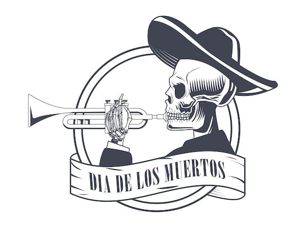 Dia de los muertos poster with mariachi skull playing trumpet drawing vector illustration design