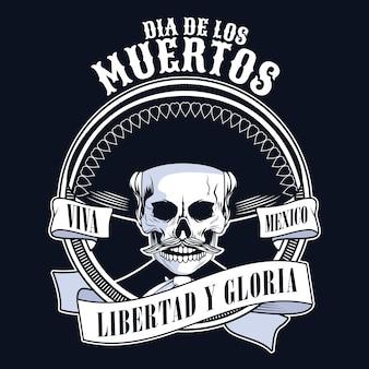 Dia de los muertos poster with mariachi skull in ribbon frame vector illustration design