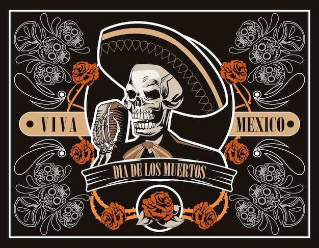 Dia de los muertos poster with mariachi skull singing with microphone in brown poster vector illustration design