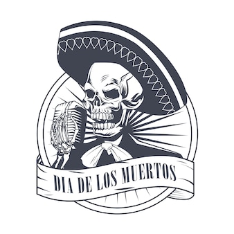 Dia de los muertos poster with mariachi skull singing with microphone drawing vector illustration design