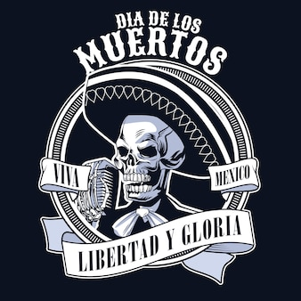 Dia de los muertos poster with mariachi skull singing with microphone monochrome colors vector illustration design