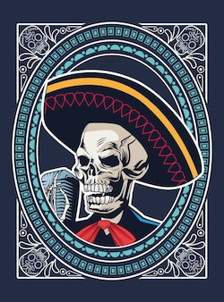 Dia de los muertos poster with mariachi skull singing with microphone square frame vector illustration design