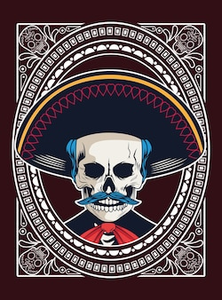 Dia de los muertos poster with mariachi skull vector illustration design