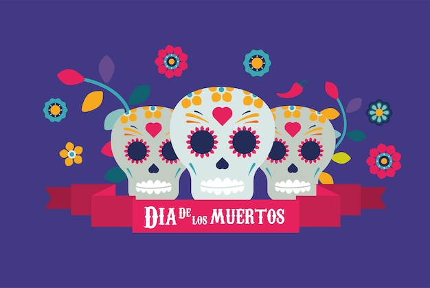 Dia de los muertos poster with skulls and flowers in ribbon frame illustration design